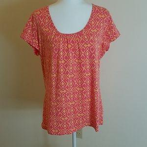 Merona pink and yellow geometric print t-shirt